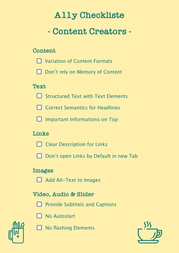 A11y Checkliste for Content Creators