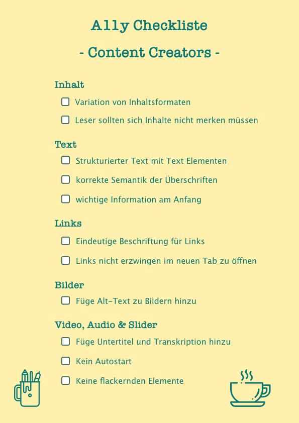 A11y Checkliste für Content Creators