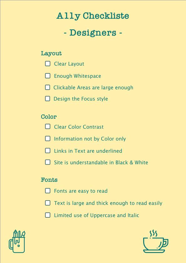 A11y Checkliste for Designers
