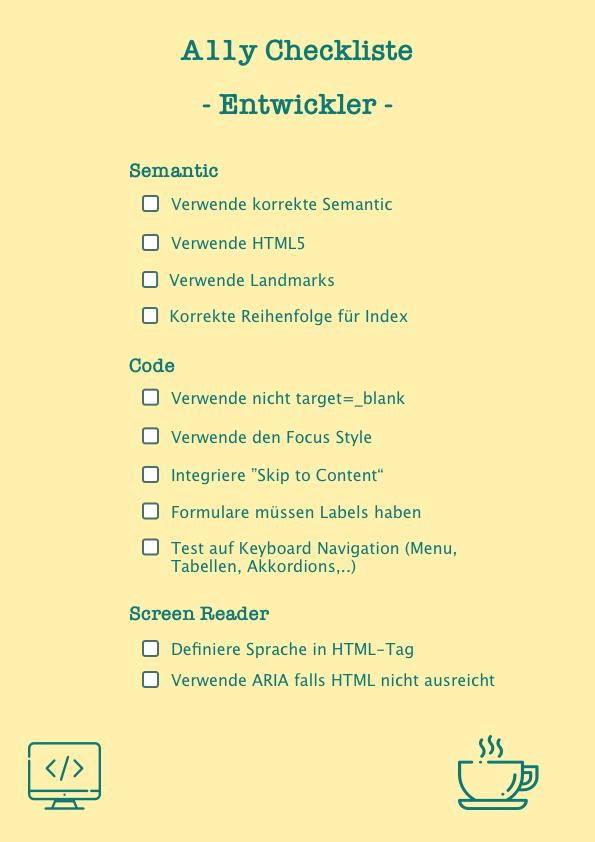 A11y Checkliste für Entwickler